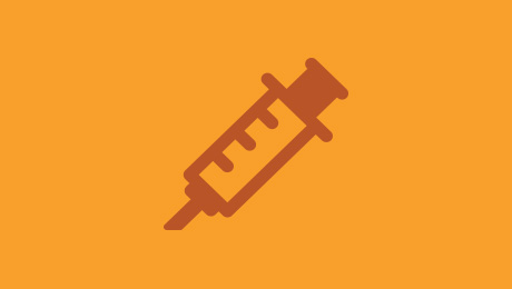 Orange vaccination icon