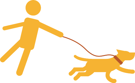 simple drawing of man and dog